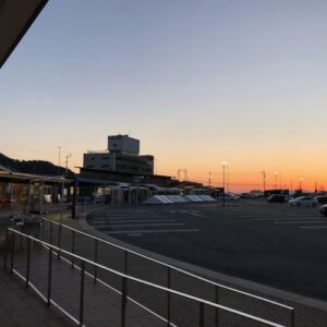 道の駅の美しい夕焼け