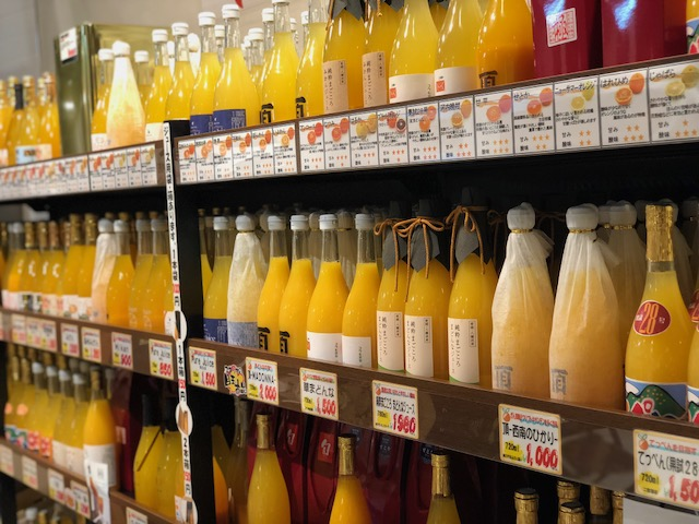 生産者こだわりの柑橘ジュースコーナー